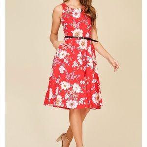 7dfe35eb11 Dresses   Skirts - Floral A Line Midi Dress W Belt